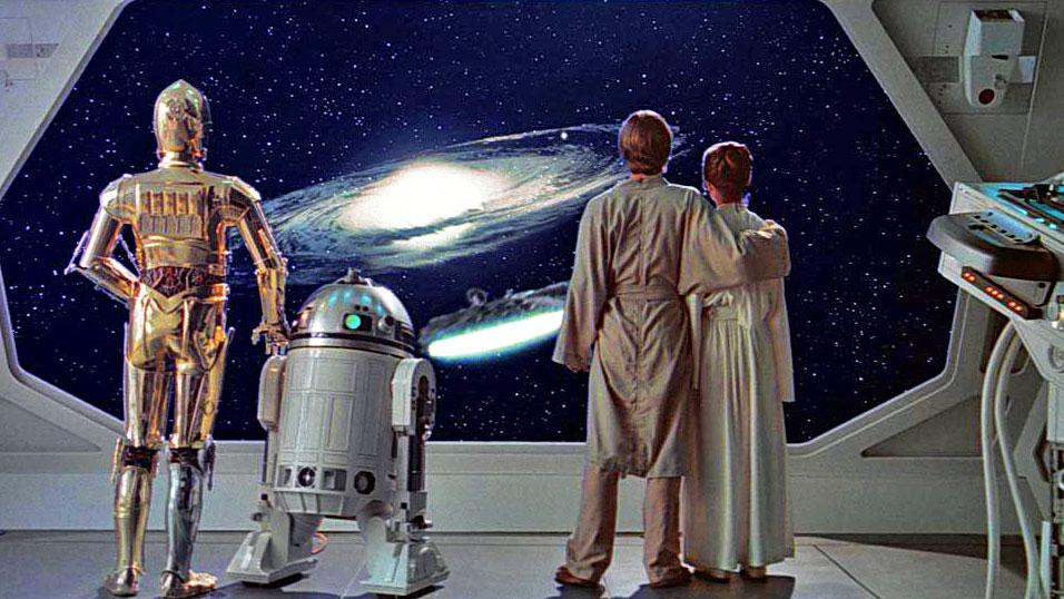 C-3PO, R2-D2, Luke und Leia schauen in eine ungewisse Zukunft.