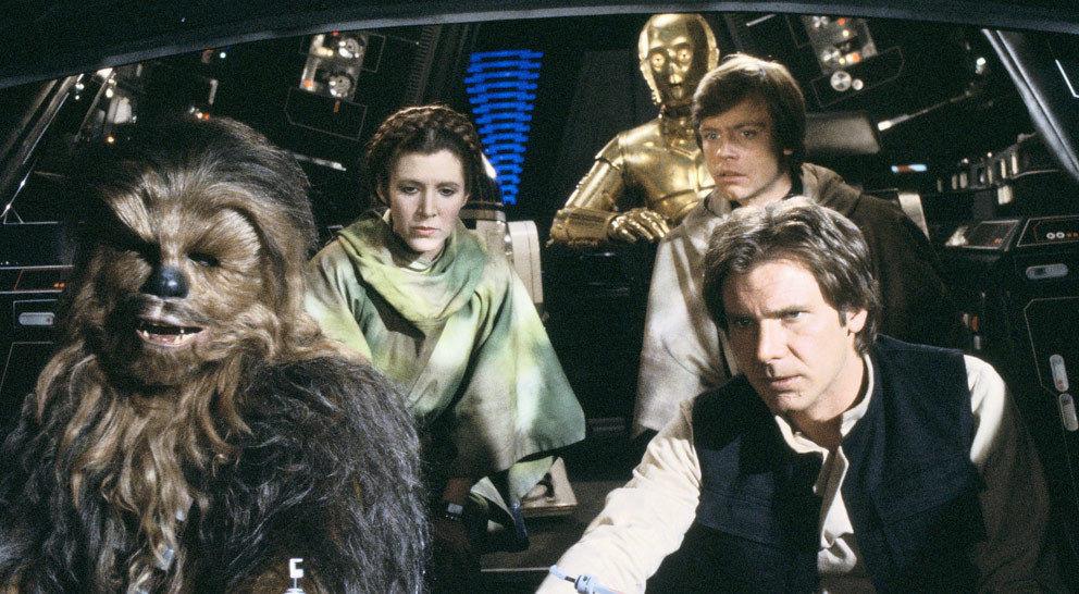 Han, Leia, Chewbacca, Luke, Leia, C-3PO und R2-D2 fliegen in einem gestohlenen imperialen Shuttle zum Mond Endor.