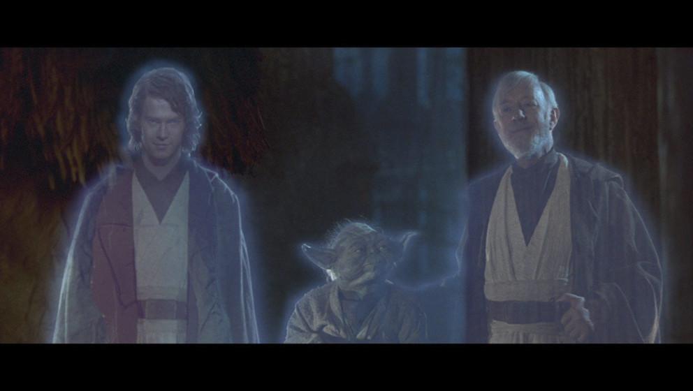 Durch seine vorherige gute Tat wird aus Darth Vader wieder Anakin Skywalker und sein Geist trifft auf Yoda und Obi-Wan. Gemei