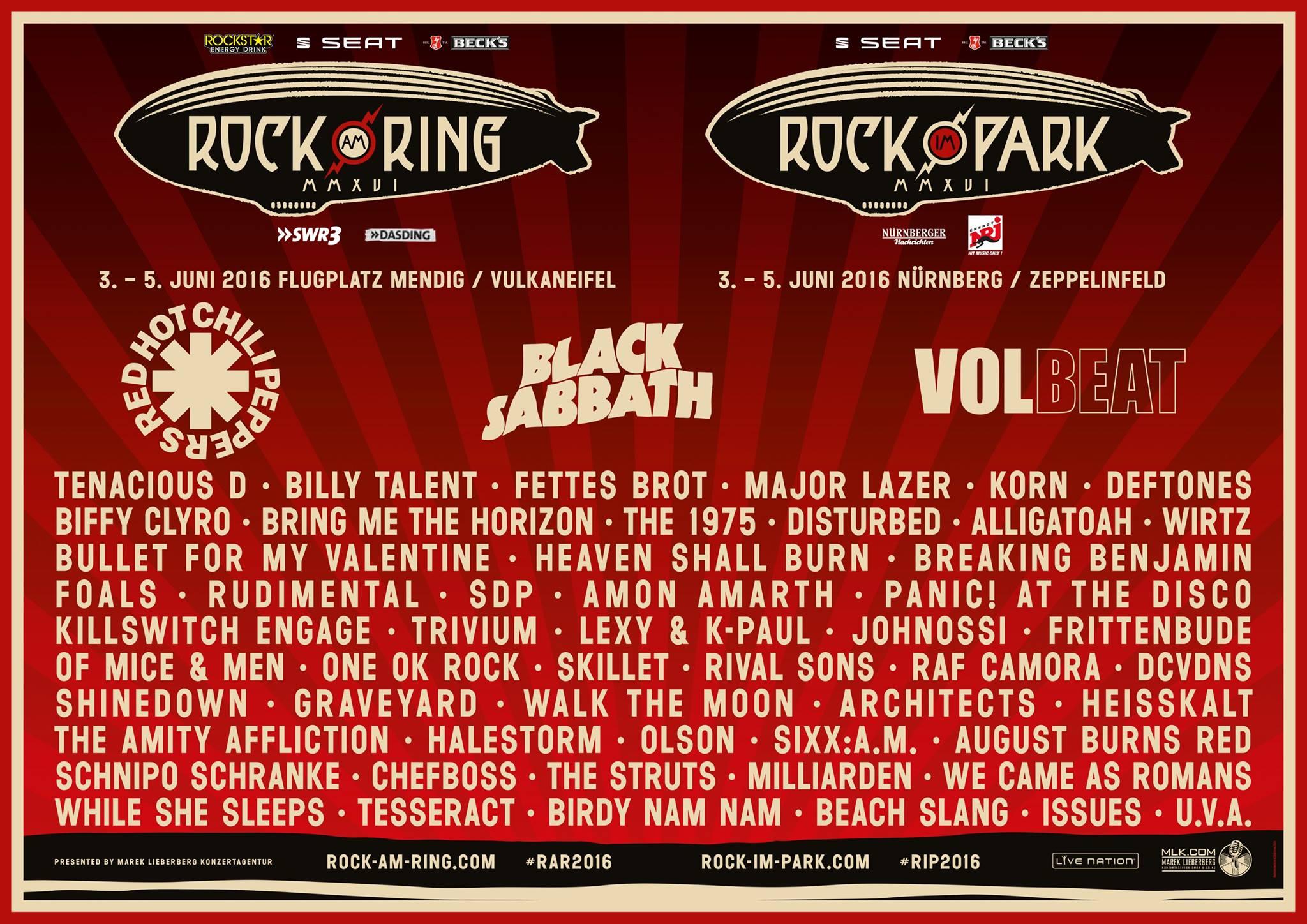 Rock Am Ring Und Rock Im Park 2016 Bestätigen 22 Weitere Bands
