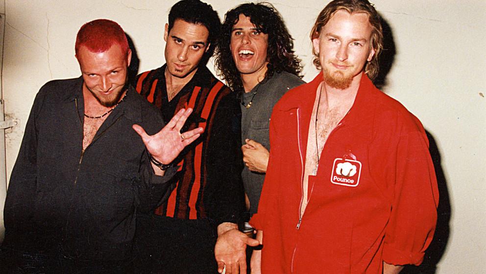 Scott Weiland, Robert DeLeo, Dean DeLeo and Eric Kretz of Stone Temple Pilots (Photo by Jeff Kravitz/FilmMagic, Inc)