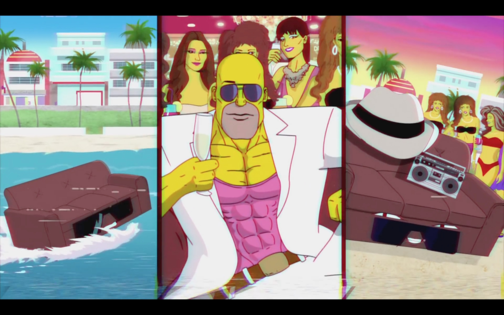 die simpsons couch gag nimmt miami vice auf die schippe. Black Bedroom Furniture Sets. Home Design Ideas