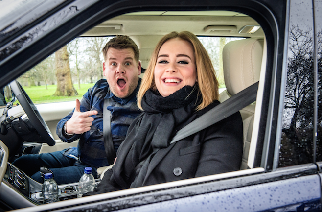 Sangen zusammen im Auto: James Corden und Adele