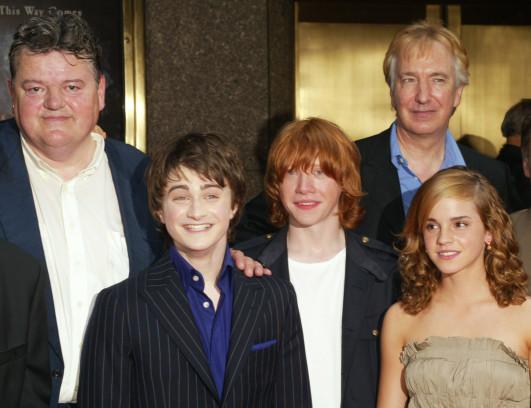"""Die """"Harry Potter""""-Crew mit Robbie Coltrane, Daniel Radcliffe, Rupert Grint, Emma Watson und Alan Rickman hier im Jahr 2004"""