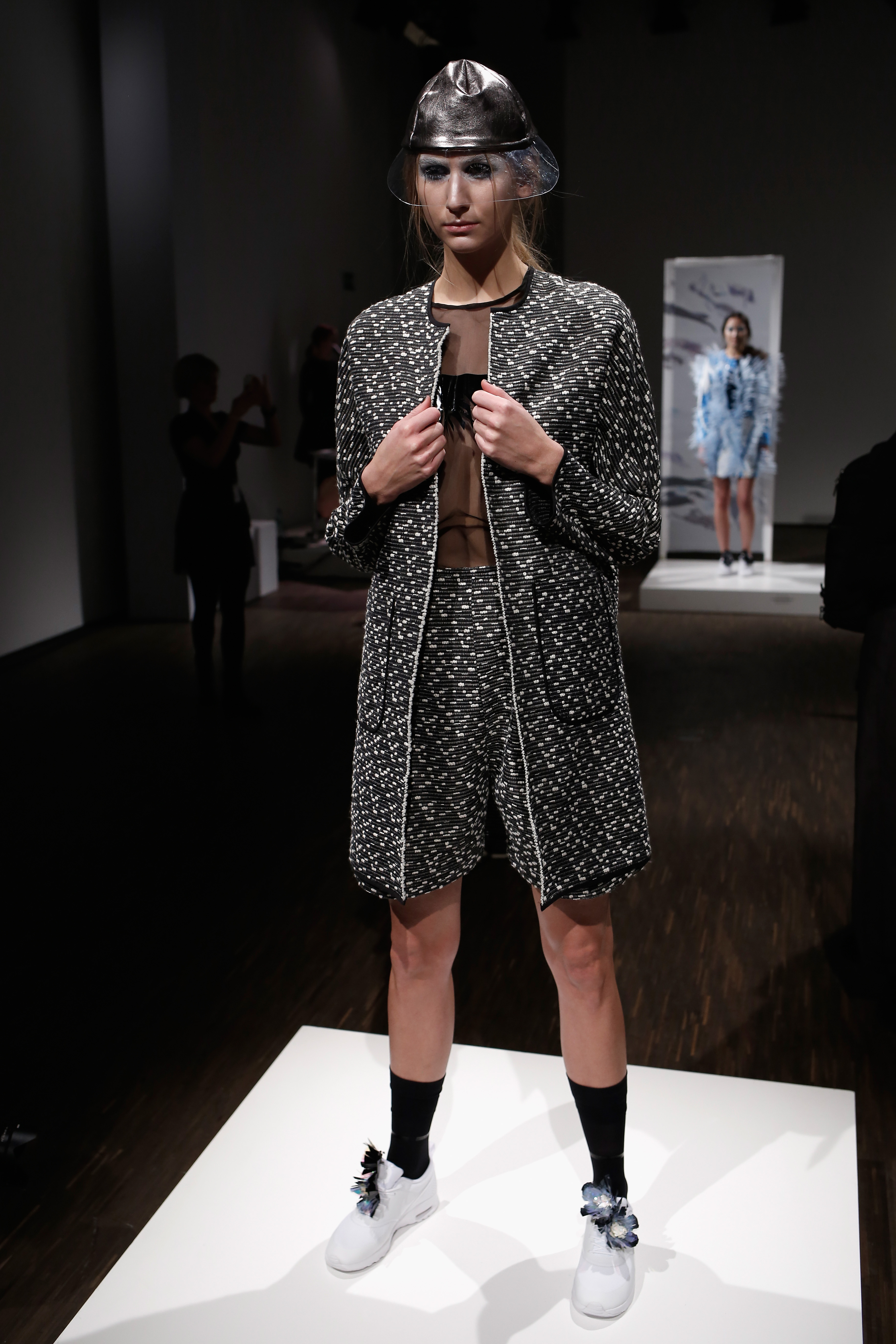 A model poses at the Steinrohner show during the Mercedes-Benz Fashion Week Berlin Autumn/Winter 2016 at Stage at me Collecto