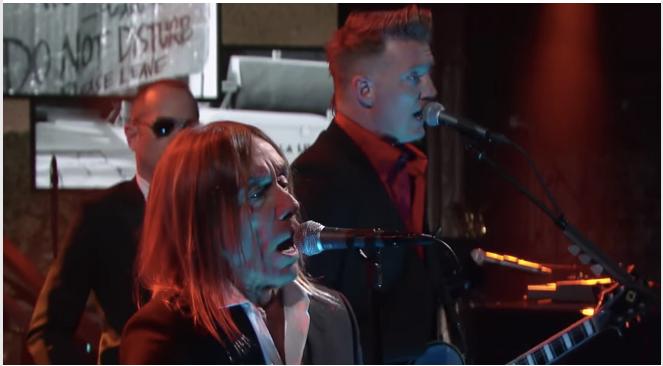 Traten gemeinsam beim US-Talker Stephen Colbert auf: Iggy Pop und Josh Homme