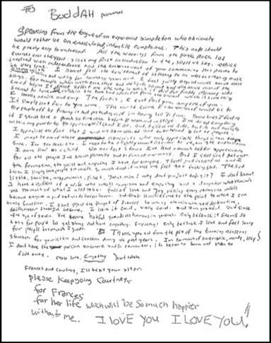 Abschieds-Brief von Kurt Cobain