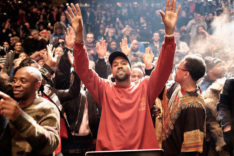 NEW YORK, NY - FEBRUARY 11:  Kanye West performs during Kanye West Yeezy Season 3 on February 11, 2016 in New York City.  (Ph