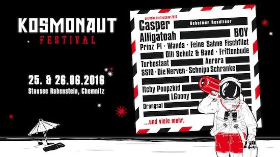 Das Kosmonaut Festival 2016 mit bisher noch sehr löchrigem Line-Up.