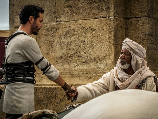 Judah Ben-Hur (Jack Huston) und Ilderim (Morgan Freeman).