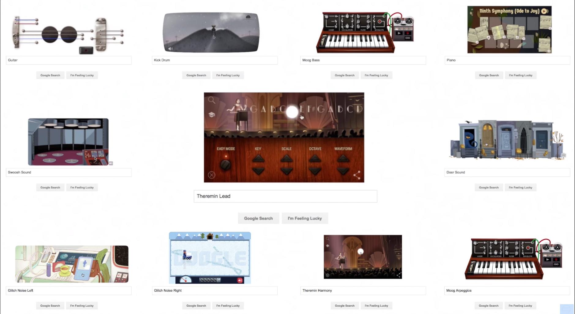 Elf Google Doodles kamen für das Cover zum Einsatz.