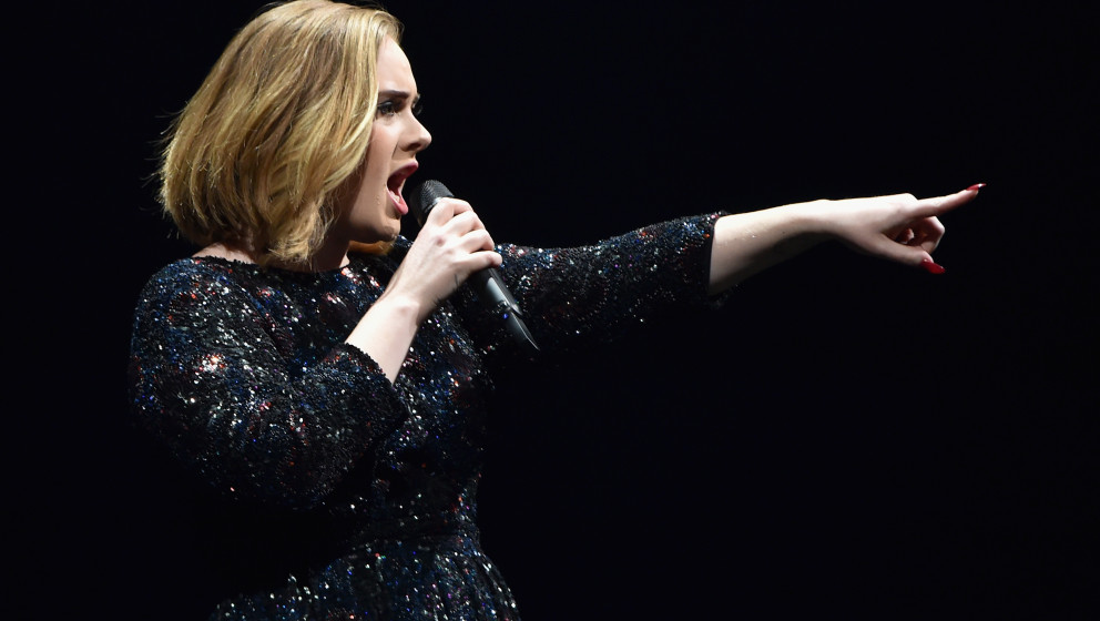 Singer Adele performs on stage at The O2 Arena on March 15, 2016 in London, England.
