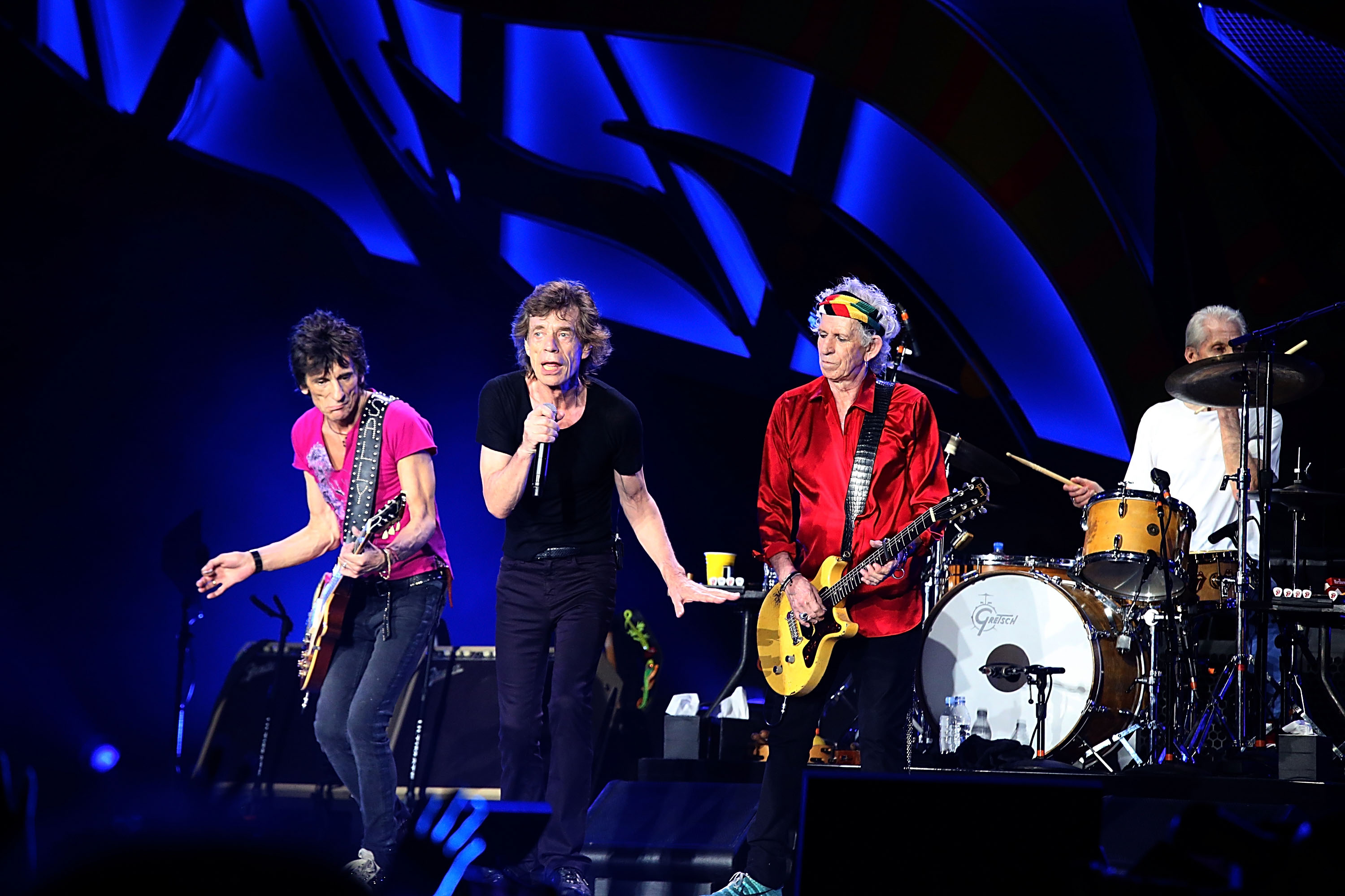 HAVANA, CUBA - MARCH 25:  (L - R) Ron Wood, Mick Jagger, Keith Richards and  Charlie Watts perform with the Rolling Stones at