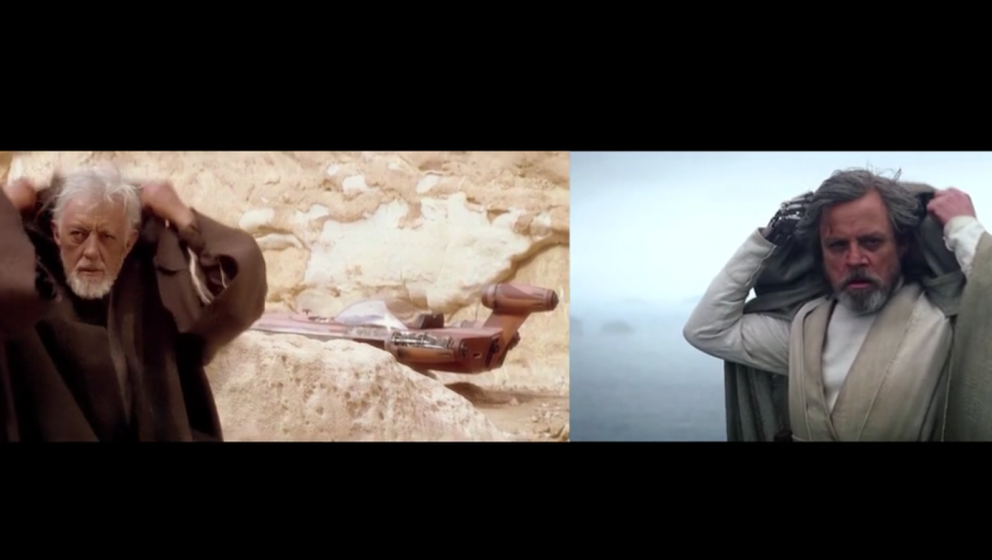Luke Skywalker (r.) hat sich von seinem Meister auch die Kapuzen-zurückwerf-Technik abgeschaut.