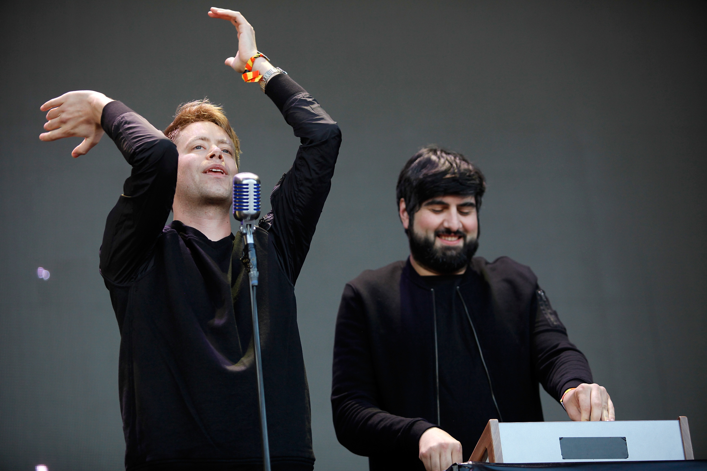 BERLIN, GERMANY - SEPTEMBER 12:  Jens Moelle (L) and Ismail Tuefekci of Digitalism perform live on stage during the first day