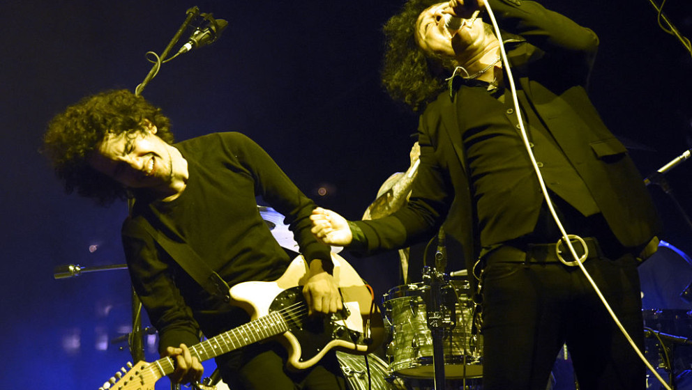 AUSTIN, TX - NOVEMBER 06: Omar Rodriguez-Lopez (L) and Cedric Bixler-Zavala of Antemasque perform during Fun Fun Fun Fest 201