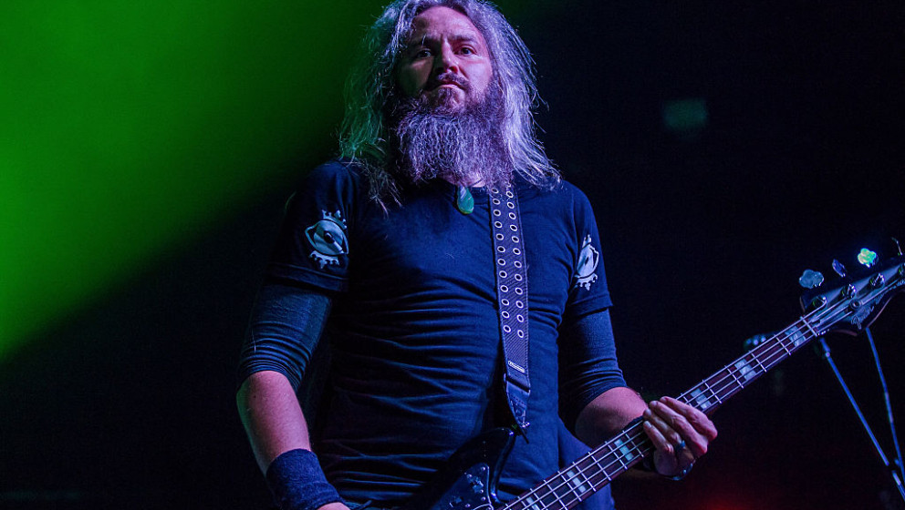 SAN FRANCISCO, CA - OCTOBER 20:  Bassist Troy Sanders of Mastodon performs at The Warfield Theater on October 20, 2015 in San