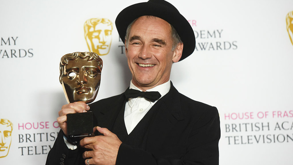 LONDON, ENGLAND - MAY 08:  Mark Rylance poses for a photo in the winners room during the House Of Fraser British Academy Tele
