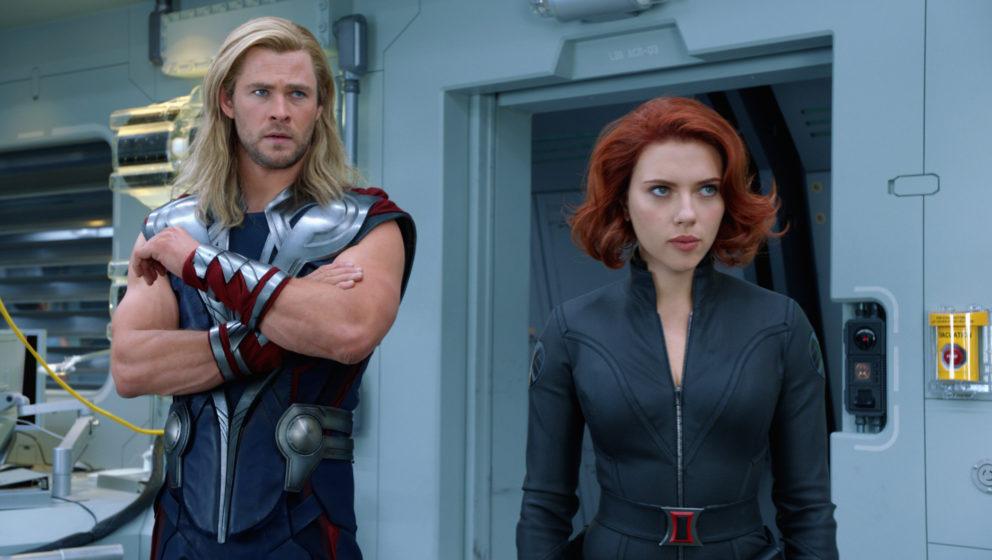 'Marvel's The Avengers' Thor (Chris Hemsworth) and Black Widow (Scarlett Johansson)Ph: Film Frame© 2011 MVLFFLLC. TM &