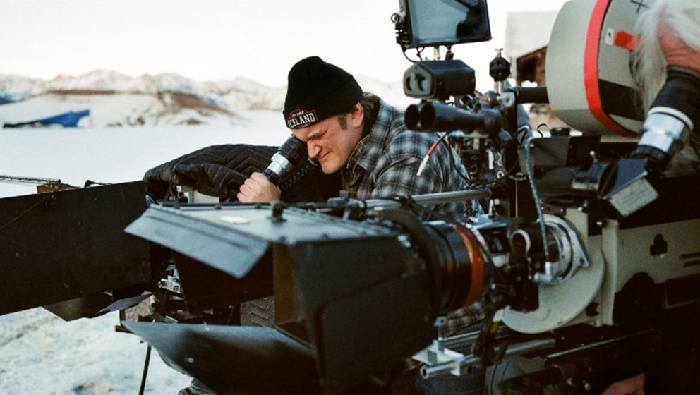 Writer/Director Quentin Tarantino (l) on the set of THE HATEFUL EIGHT. ©The Weintein Company. CR: Andrew Cooper.