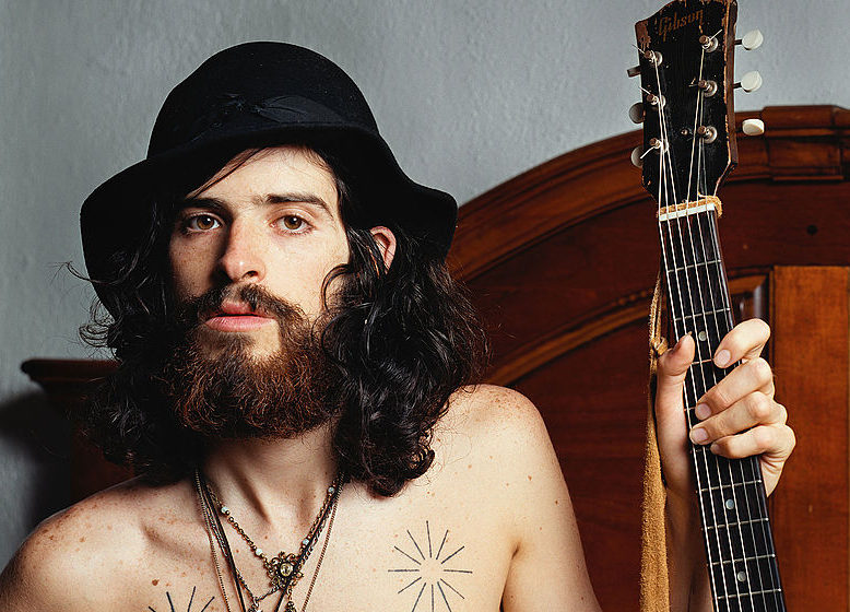 NEW YORK -  JULY 1:  Folk singer Devendra Banhart photographed at the Chelsea Hotel on July 1, 2004 in New York City.  (Photo