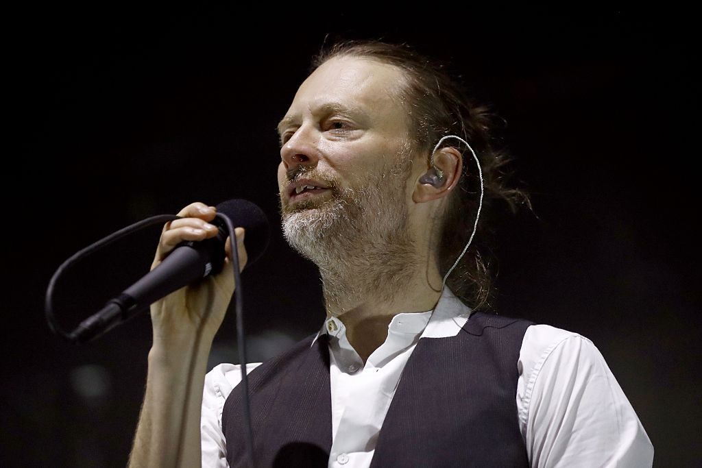Lead singer Thom Yorke of the British band Radiohead performs on stage during a concert at the Zenith concert hall on May 24,