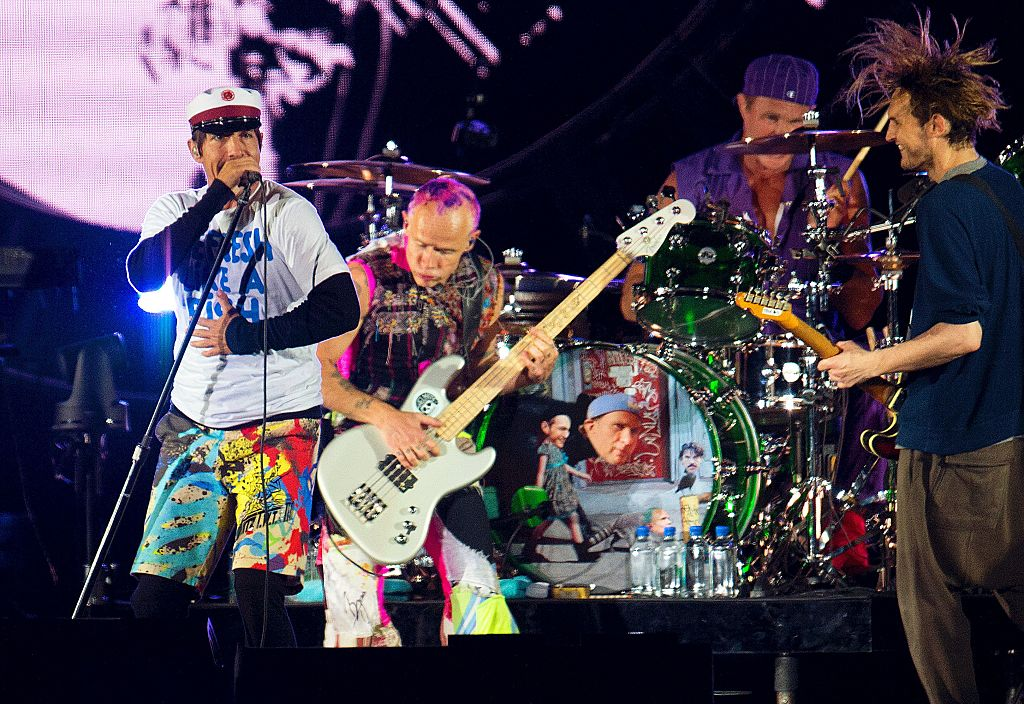 U.S Band Red Hot Chili Peppers perform at the orange stage at Roskilde festival in Roskilde, on June 29, 2016. / AFP / SCANPI