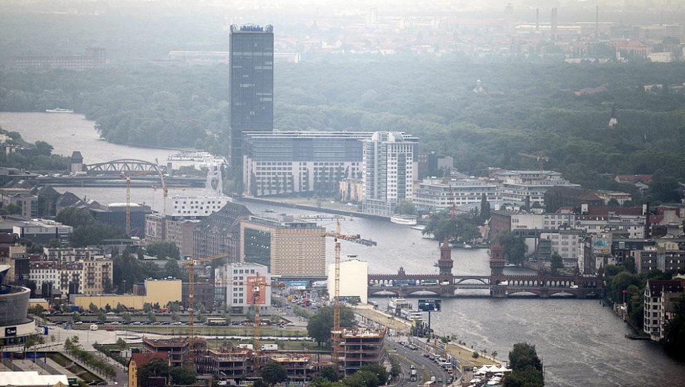 An aerial view taken on May 29, 2012 shows the Oberbaum Bruecke bridge (R) over the Spree river through the Friedrichshain di