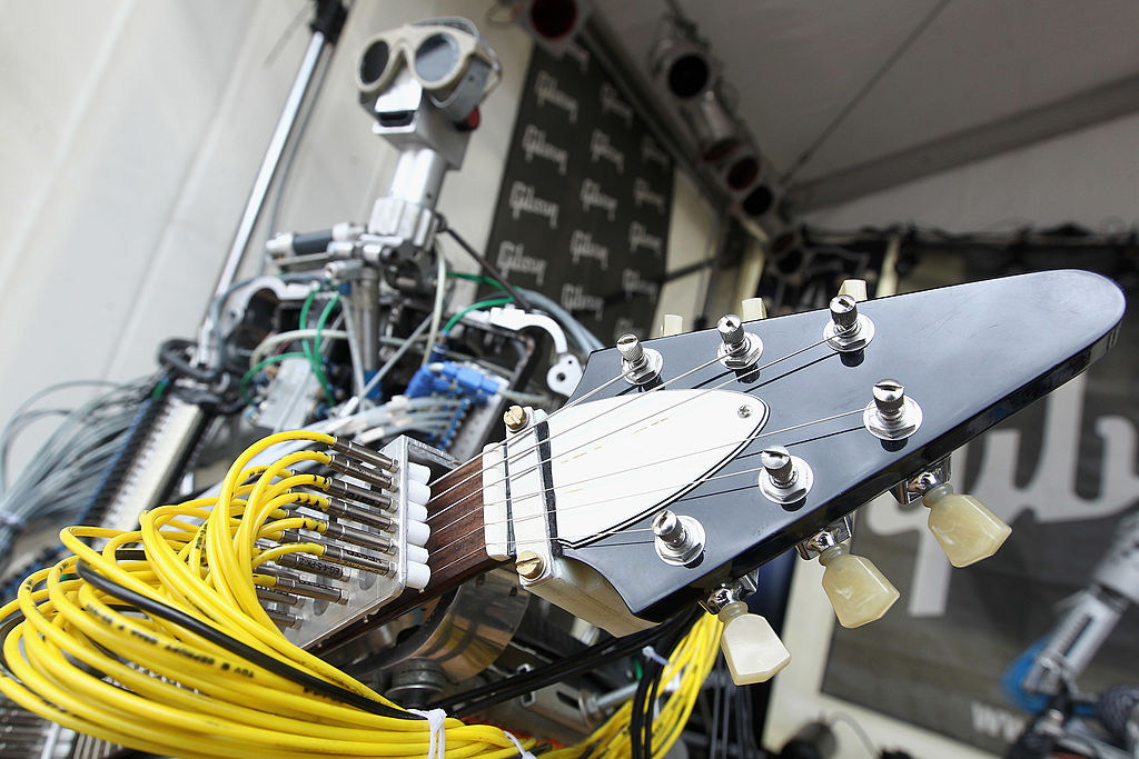 FRANKFURT AM MAIN, GERMANY - APRIL 09:  Robot band Compressorhead live on Gibson stage at the Musikmesse on April 9, 2013 in