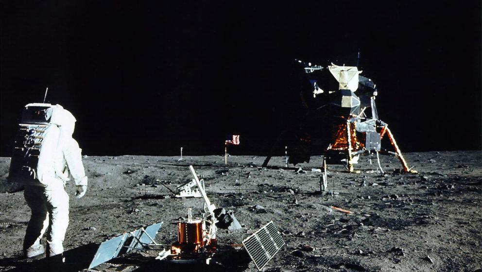 376713 17: (FILE PHOTO) Astronaut Edwin E. Aldrin Jr., Lunar Module Pilot, stands near a scientific experiment on the lunar s