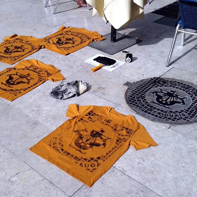 Hier war Raubdruckerin in Lissabon unterwegs. Unter anderem sind dabei T-Shirts entstanden.