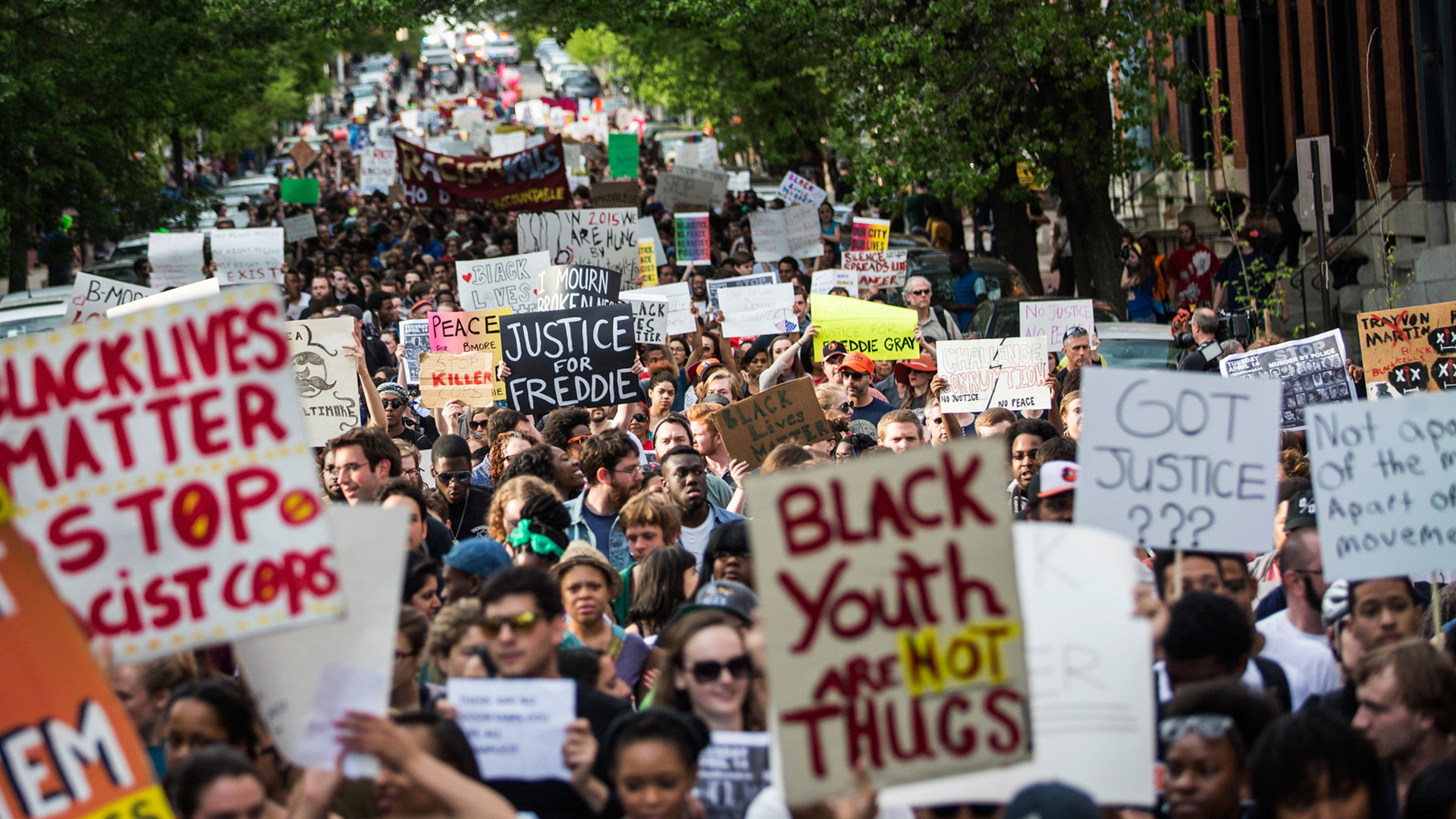 BALTIMORE, MD - APRIL 29:  Students from Baltimore colleges and high schools march in protest chanting 'Justice for Freddie G