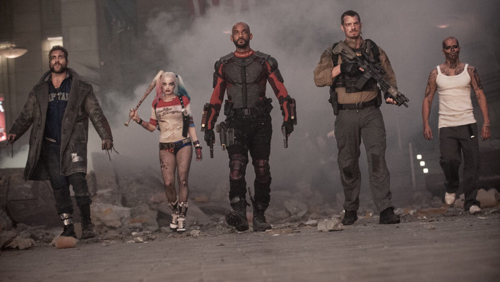 V.l.n.r.: Captain Boomerang (Jai Courtney), Harley Quinn (Margot Robbie), Deadshot (Will Smith),  Rick Flag (Joel Kinnaman) u