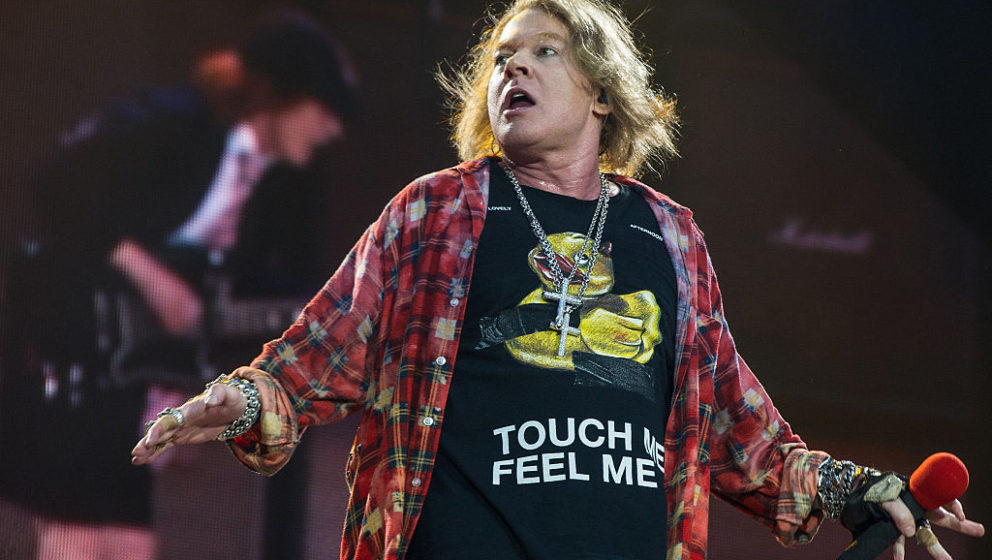 LONDON, ENGLAND - JUNE 04:  Axl Rose of AC/DC performs at Queen Elizabeth Olympic Park on June 5, 2016 in London, England.  (