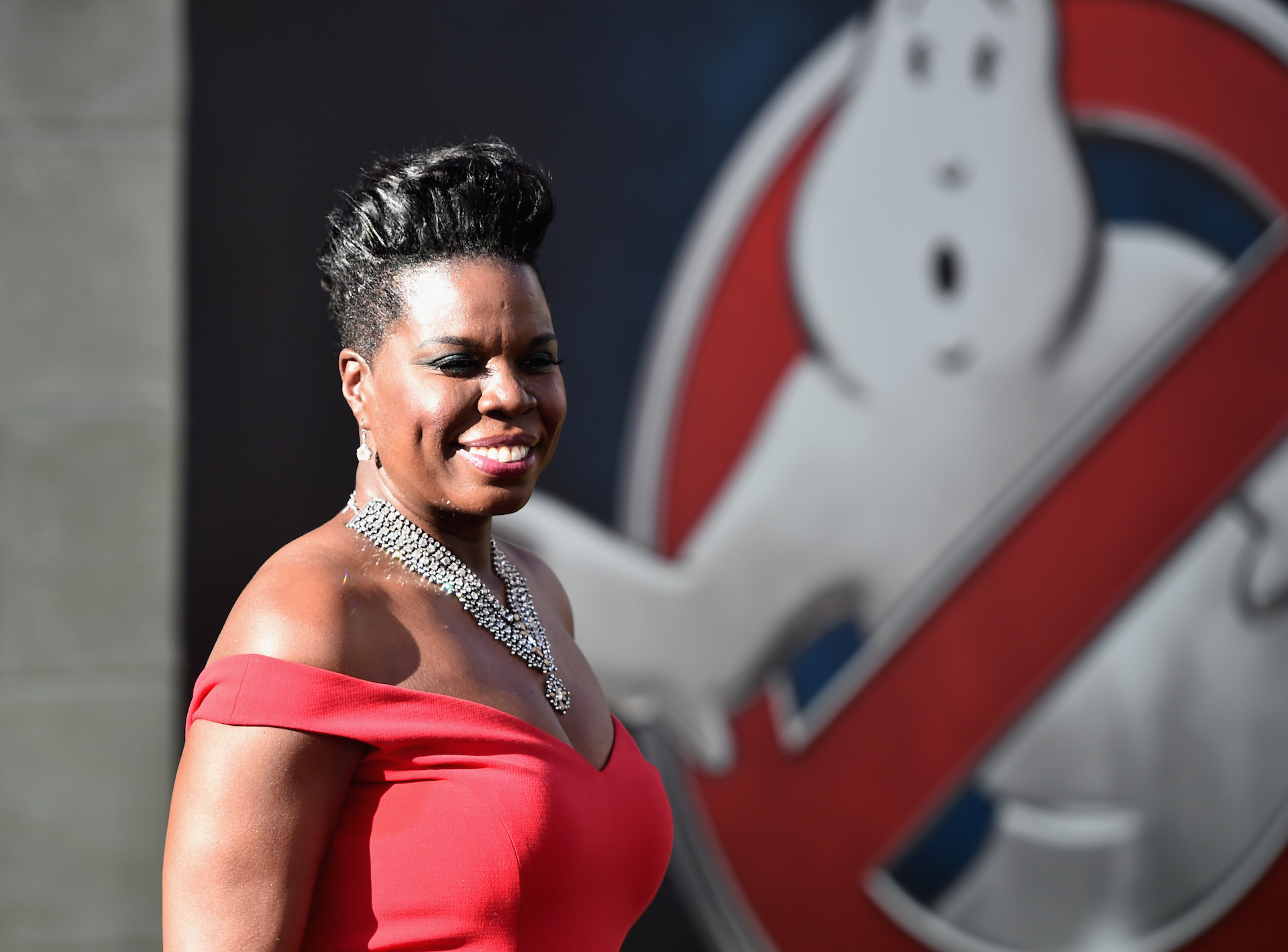 HOLLYWOOD, CA - JULY 09:  Actress Leslie Jones arrives at the Premiere of Sony Pictures' 'Ghostbusters' at TCL Chinese Theatr