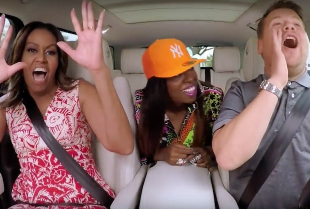 Michelle Obama, Missy Elliott und James Corden beim Carpool Karaoke