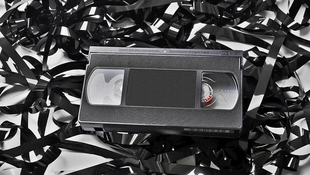 A tangled mess of VHS tape and cassette, 2001. (Photo by Tom Kelley/Getty Images)