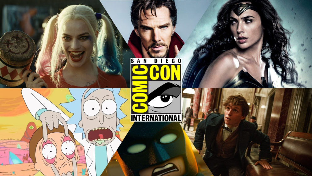 V.l.: Harley Quinn (Margot Robbie), Doctor Strange (Benedict Cumberbatch), Wonder Woman (Gal Gadot), Rick & Morty), Lego-Batm