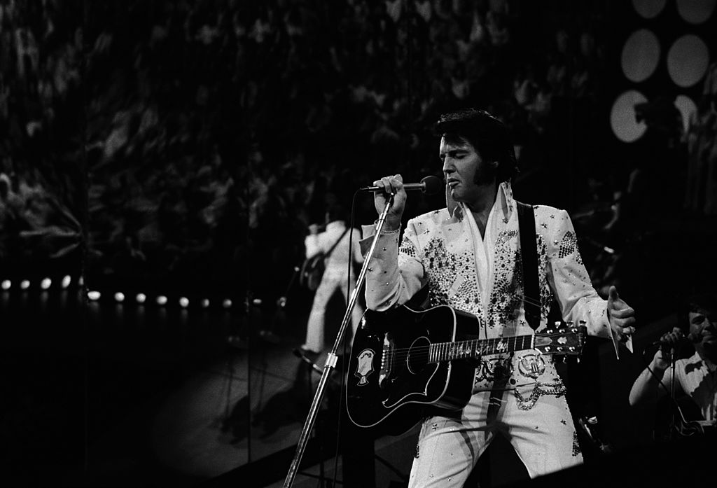 ELVIS: ALOHA FROM HAWAII -- Aired 4/4/73 -- Pictured: Elvis Presley during a live performance at Honolulu International Cente