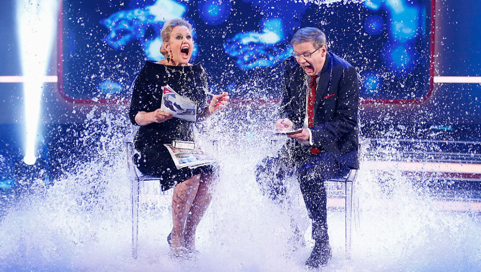 COLOGNE, GERMANY - DECEMBER 07:  Barbara Schoeneberger and TV host Guenther Jauch take part in the 'Ice Bucket Challenge' dur