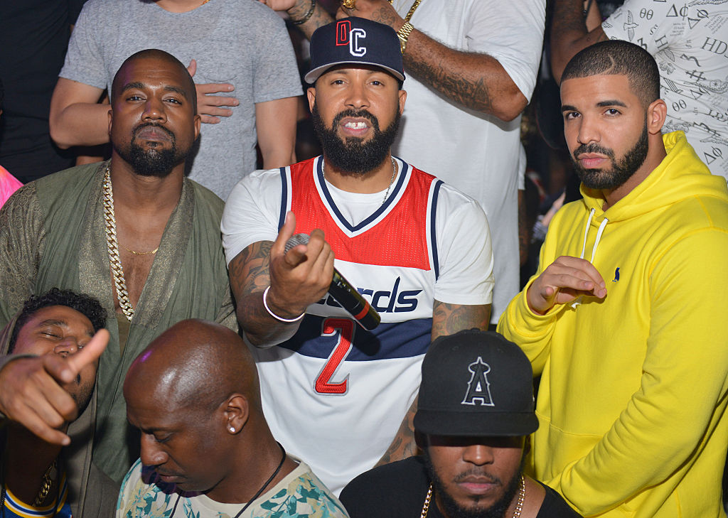ATLANTA, GA - JUNE 20:  Kanye West, Kenny Burns and Drake attend at Compound on June 20, 2015 in Atlanta, Georgia.  (Photo by