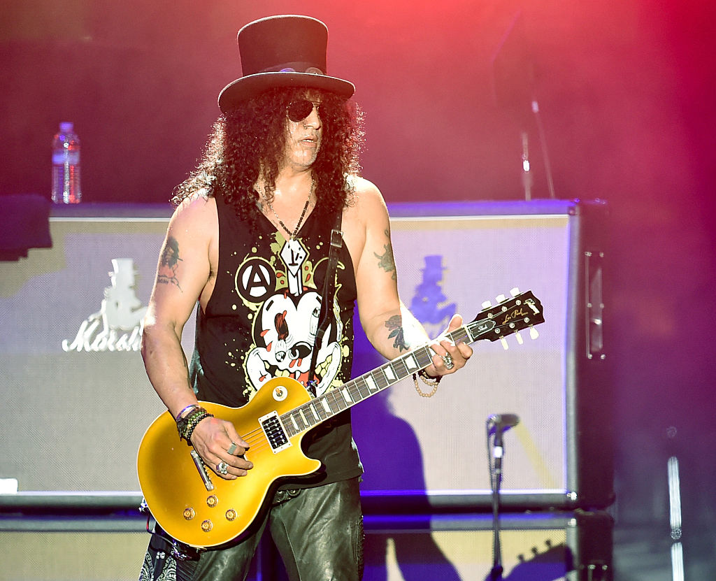 INDIO, CA - APRIL 16:  Musician Slash of Guns N' Roses performs onstage during day 2 of the 2016 Coachella Valley Music &