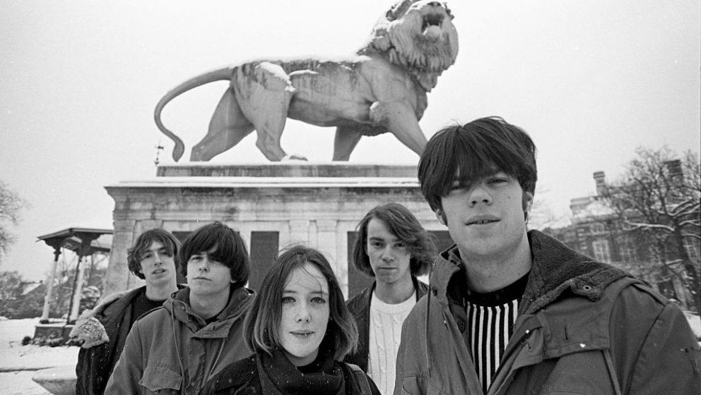 Slowdive, group portrait, Reading, United Kingdom, 1990. Line up consists of Neil Halstead, Christian Savill, Rachel Goswell,