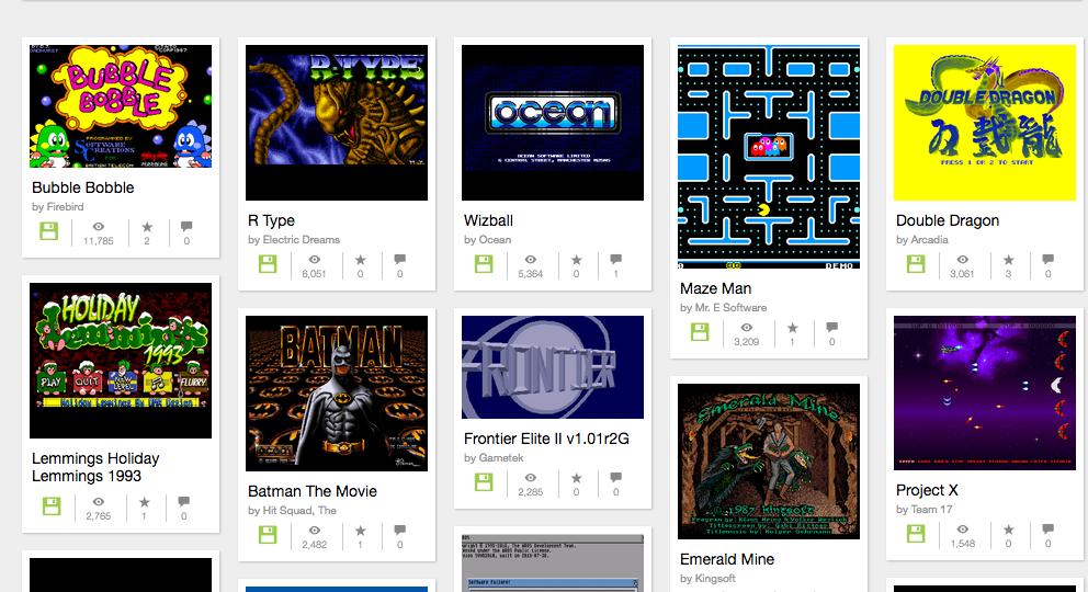 """Die Amiga-Auswahl beim """"Internet Archive""""."""
