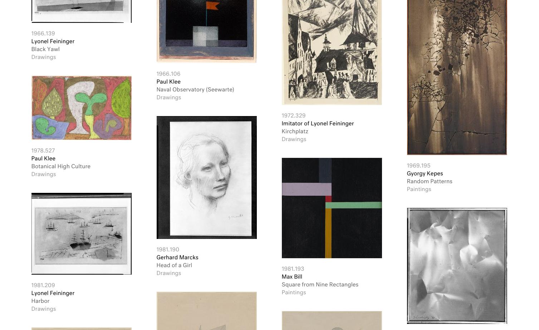 Ansicht des Bauhaus-Online-Archivs der Harvard Art Museums