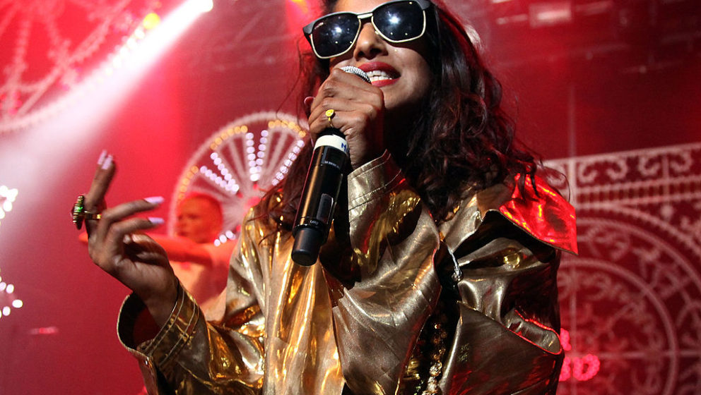 NEW YORK, NY - NOVEMBER 01:  M.I.A. performs in celebration of her new album 'Matangi' at Terminal 5 on November 1, 2013 in N