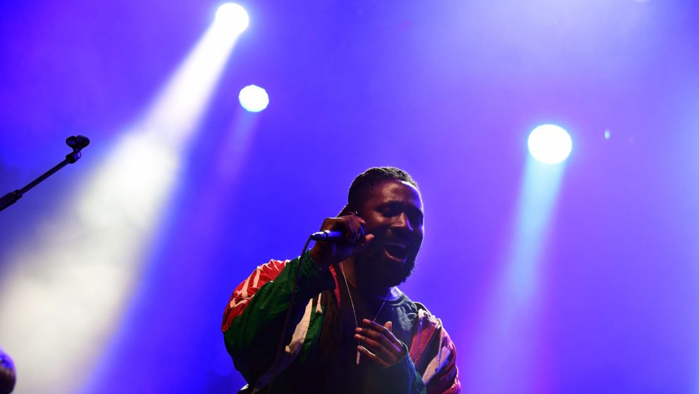 Frontman of English indie rock band, the 'Bloc Party' Kele Okereke performs on the stage at the 'Sziget' Island Festival in t