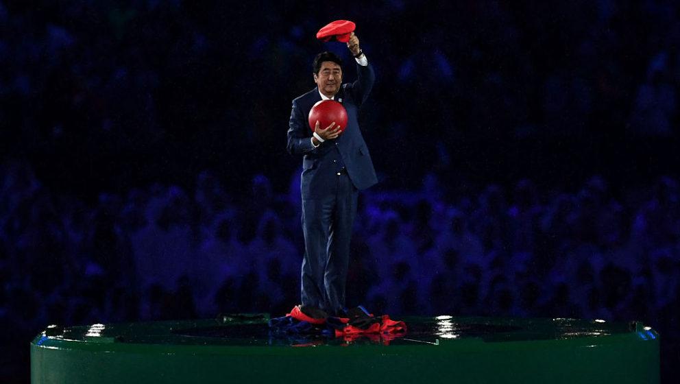 Shinzō Abe bei der gestrigen Olympia-Abschluss-Feier als Super Mario