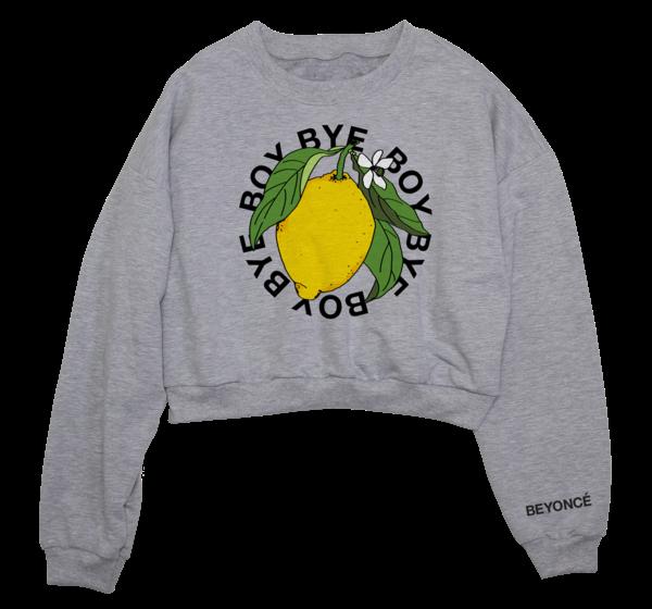 """Das graue """"Boy Bye""""-Sweatshirt mit Zitronenprint ist Teil der neuen Merchandise-Kollektion von Beyoncé"""