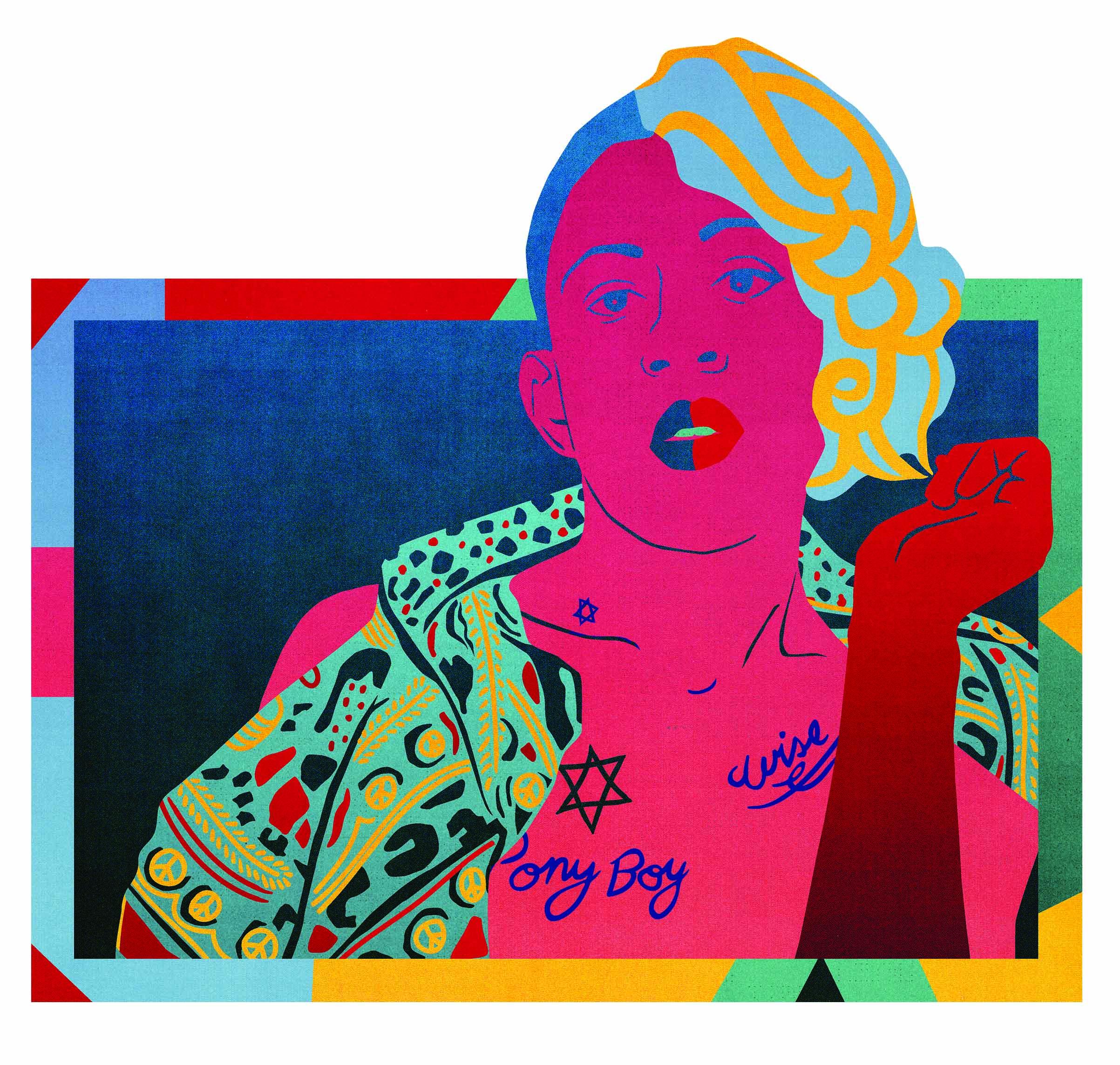 Mykki Blanco – in einer Illustration von Stephanie Franziska Scholz – mit dem Album der Woche, MYKKI.